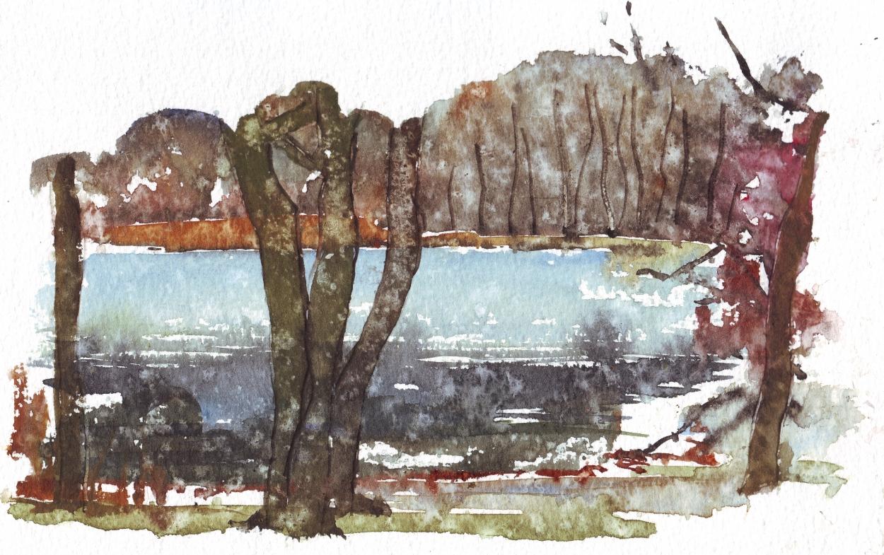 Akvarel fra Mølleåen, Danmark